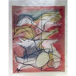 Jean Hans Arp - The Birds Watercolor