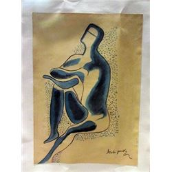 Alexander Archipenko - The Thinker Watercolor