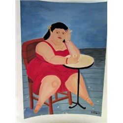 Fernando Botero - Dona Julia Watercolor