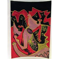 Ernst Ludwig Kirchner - The Street Watercolor