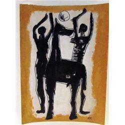 Marino Marini - Two Man with Horse Watercolor
