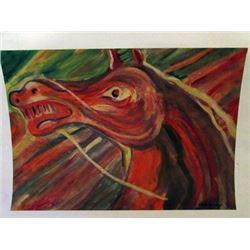 Carlos Enriquez - The Horse Watercolor