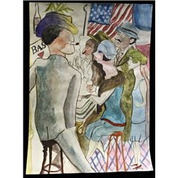 The bar - George Grosz - Watercolor On Paper