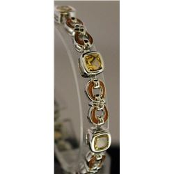 Fancy Sterling Silver Lab Golden Sapphire Bracelet. (1B)