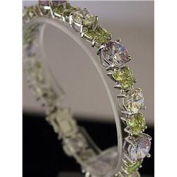 Stunning Sterling Silver Lab Multi Gem Stones Bracelet. (4B)