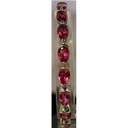 Very Fancy Sterling Silver Lab Pink Sapphire Bracelet. (23B)
