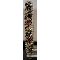 Beautiful Sterling Silver Lab Multi Gem Stones Bracelet. (25B)