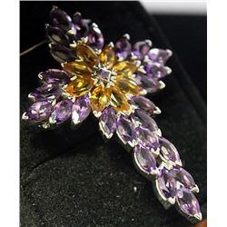 "Very Fancy Sterling Silver Lab ""Cross"" Design Tanzanite & Golden Sapphire Pendant. (27B)"
