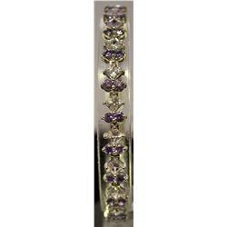 Stylish Sterling Silver Lab Tanzanite & Sapphire Bracelet. (28B)