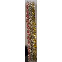 Unique Style Sterling Silver Lab Pink Sapphire & Golden Sapphire Bracelet. (29B)