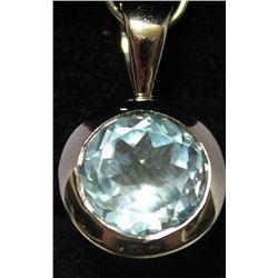 Fancy Sterling Silver Lab Nevada Blue Topaz Pendant. (30B)