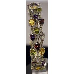 Stunning Sterling Silver Lab Multi Gem Stones Bracelet. (31B)