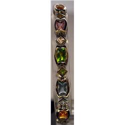 Fancy Sterling Silver Multi Lab Gems Bracelet.  (33B)
