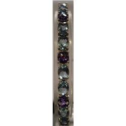 Beautiful Sterling Silver Lab Tanzanite & Topaz Bracelet. (34B)