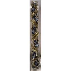 Fancy Sterling Silver Lab Tanzanite & White Topaz Bracelet. (37B)