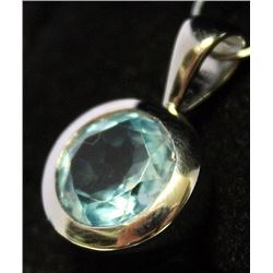 Beautiful Sterling Silver Lab Topaz Pendant. (57B)