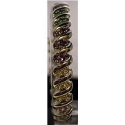 Very Stylish Sterling Silver Lab Multi Gem Stones Bracelet. (64B)