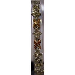 Fancy Sterling Silver Lab Golden Sapphire & White Topaz Bracelet. (75B)