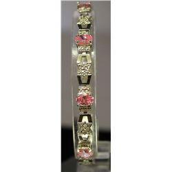 Fancy Sterling Silver Lab Pink  & White Sapphire Bracelet. (113B)
