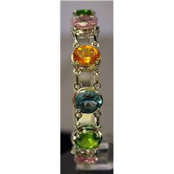 Beautiful Sterling Silver Multi Lab Gems Bracelet. (114B)