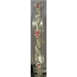 Beautiful Sterling Silver Lab Pink Sapphire & White Topaz Bracelet. (120B)