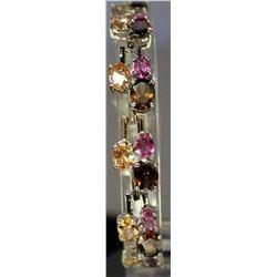 Beautiful Sterling Silver Lab  Golden Sapphire, Pink Sapphire & Smokey Quarts Bracelet. (130B)