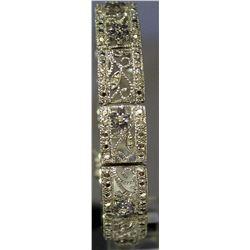 Stylish Sterling Silver Lab Tanzanite & White Topaz Bracelet. (134B)