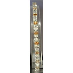 Beautiful Sterling Silver Lab White Topaz & Golden Sapphire Bracelet. (139B)