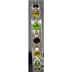 Beautiful Sterling Silver Multi Lab Gems Bracelet. (147B)