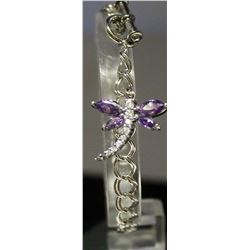 Very Stylish Sterling Silver Lab Tanzanite & White Topaz Bracelet. (149B)
