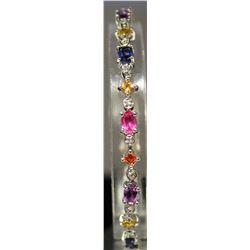Very Fashionable Sterling Silver Multi Lab Gems Bracelet. (153B)