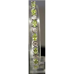 Very Fancy Sterling Silver Lab White Sapphire & Peridot Bracelet. (158B)