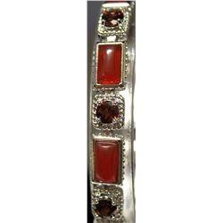 Fancy Sterling Silver Lab Garnet & Ruby Bracelet. (162B)