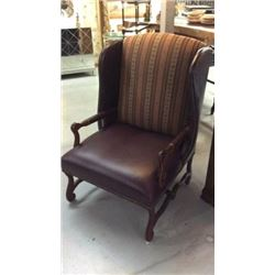 Century Furniture Chair Fabric & Leather with Embossed Leather Highlights