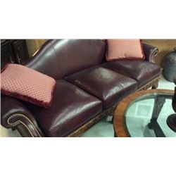 Leather Louis IV Sofa With Hand Carved Frame