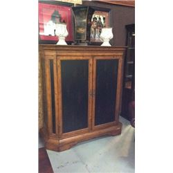 Pine Entertainment Cabinet With Black Rubbed Thru Doors