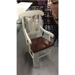 Set Of 6 White Arm Chair