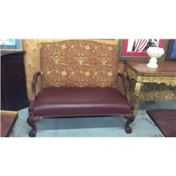 Leather And Upholstered Settee With Carved Legs