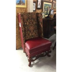 Maitland Smith Leather And Upholstered High Back