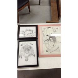 3 Signed Native American Sketches