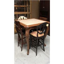 Century Bar Height Table With Marble Insert Top