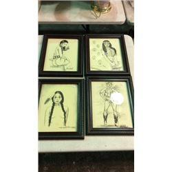 4 Original Drawings by Mi Elk Shoulder