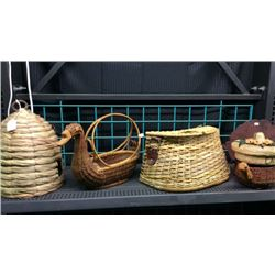Shelf of baskets