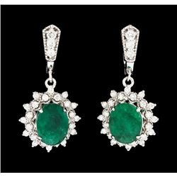 5.83 ctw Emerald and Diamond Earrings - 14KT White Gold