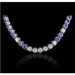 14KT White Gold 27.84 ctw Tanzanite and Diamond Necklace