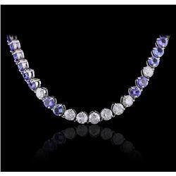 14KT White Gold 27.84 ctw Tanzanite and Diamond Necklace