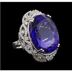 GIA Cert 45.32 ctw Tanzanite and Diamond Ring - 14KT White Gold