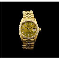 Rolex 18KT Gold 1.18 ctw Diamond DateJust Men's Watch