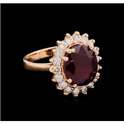 14KT Rose Gold 7.94 ctw Ruby and Diamond Ring