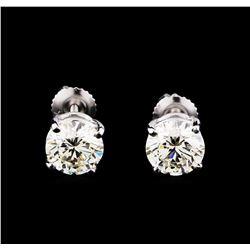 EGL Cert 3.01 ctw Diamond Stud Earrings - 14KT White Gold